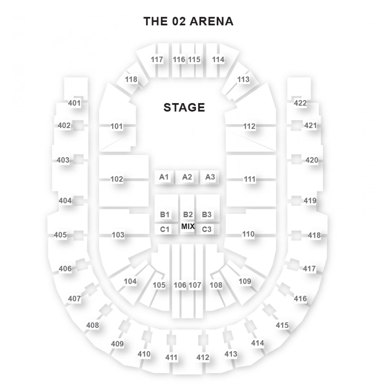O2 Arena - Plan de Salle